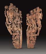 Picture of CARVED PAIR OF WOODEN PANELS