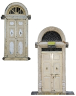Picture of PAIR OF TEAKWOOD (PAINTED & STAINED) DOUBLE DOOR