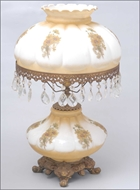 Picture of An Edwardian white glass and painted table-lamp (lot 23)
