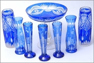 Picture of A group of Continental blue cut glass vases and a tazza (lot 24)