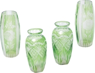 Picture of A pair of Venetian green cut glass vases (lot 25)