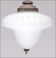 Picture of A large milky white American glass hanging light (lot 29)