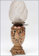 Picture of A gilt metal mounted ceramic table oil lamp (lot 41)