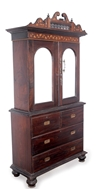 Picture of A Rosewood bureau with split pediments and balustraded panel below. (lot 44)