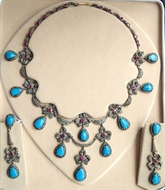Picture of An attractive Edwardian pattern Diamonds and Tourmaline Necklace with Eardrops