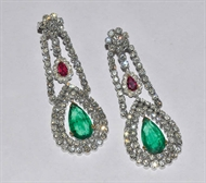 Picture of A Victorian pair of Emerald, Ruby and Diamond Earrings