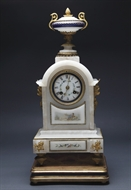 Picture of An elegant alabaster mantle clock