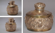 Picture of A very fine intricately carved Rajasthani Silver and gilded inkwell depicting Lakshmi