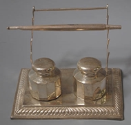 Picture of An Indian inkstand with double fluted inkwells