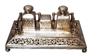 Picture of A very Fine Rajasthani inkstand with two square ink bottles and a square box