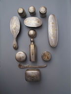 Picture of A fine twelve piece English Silver Dressing Table Set