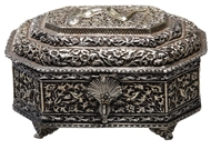 Picture of A Indian silver casket in octaganol shape