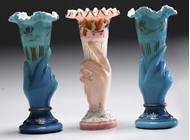Picture of Three hand painted glass vases