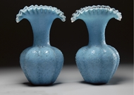Picture of A pair of blue Crackle glass vases