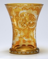 Picture of A Bohemian amber glass beaker / tumbler