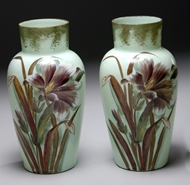 Picture of A pair of painted, late Victorian period, green Opaline  glass vases