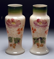 Picture of A pair of painted, late Victorian period, Opaline glass  vases