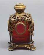 Picture of A square French gilt metal mounted ruby glass  scent-bottle
