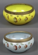 Picture of One yellow and another sky blue coloured Chinese  glass fish bowls