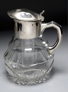Picture of A large Continental heavy cut glass jug
