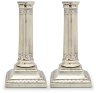 Picture of A pair of George III silver column candlesticks