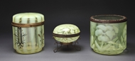 Picture of A group of three French Opaline glass boxes