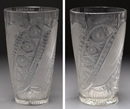 Picture of Two Continental moulded lead crystal cylinderical glass vases