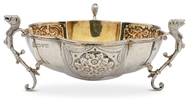 Picture of A small lobed bowl with three mythical beast handles