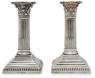 Picture of A pair of silver dwarf Corinthian column candlesticks