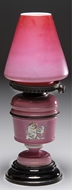 Picture of A pink double-layered glass oil lamp