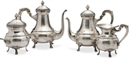 Picture of A Middle-Eastern white metal four piece tea service