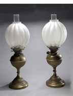 Picture of A pair of Continental brass base oil lamps