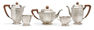 Picture of A silver five piece tea and coffee set