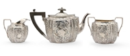 Picture of A late Victorian silver three piece tea set