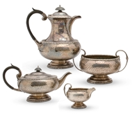 Picture of A spot hammered 4 piece tea & coffee service