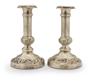 Picture of A pair of George IV silver candlesticks