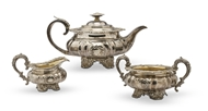 Picture of A George IV silver matched three-piece tea set