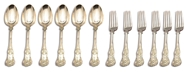 Picture of A late Victorian silver King's pattern flatware service for six place settings
