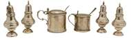 Picture of A collection of cruets to include two mustard pots, salts and pepperettes