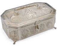 Picture of A very fine and intricately carved Indian silver octagonal shaped jewellery box