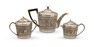 Picture of A three piece Indian silver tea service