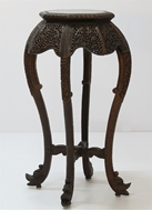 Picture of A ROSEWOOD CARVED STAND ON CARVED CABRIOLE LEGS