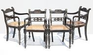 Picture of A SET OF FOUR REGENCY EBONY CHAIRS WITH BAR BACKS