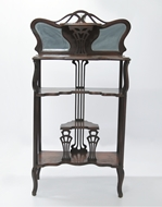 Picture of A VICTORIAN MAHOGANY MIRROR BACK ETAGERE OF GOOD PROPORTIONS