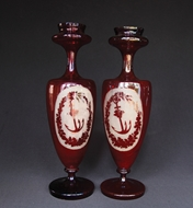 Picture of A PAIR OF RED VENETIAN GLASS VASES