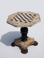 Picture of A SOUTH-INDIAN ROSEWOOD MINIATURE CHESS TABLE