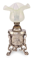 Picture of SILVER TABLE LAMP WITH OPALINE GLASS SHADE