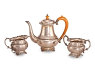 Picture of A MATCHED THREE PIECE SILVER TEA SERVICE