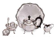 Picture of A MATCHED FIVE PIECE BACHELORS SILVER TEA SERVICE