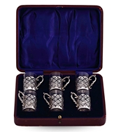 Picture of A SET OF SIX PEG GLASSES WITH SILVER HOLDERS